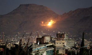 A Saudi-led airstrike on the outskirts of Yemen's capital, Sanaa in 2016.