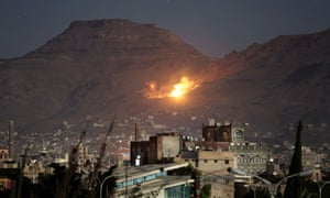 Fire and smoke are seen following a Saudi-led airstrike on the outskirts of Yemen's capital, Sana'a