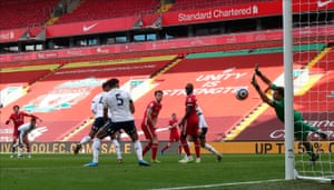 Trent Alexander-Arnold of Liverpool scores a goal to make it 2-1.