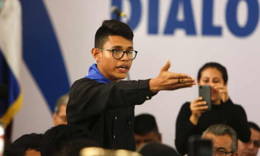 Student representative Lester Aleman interrupts Nicaragua's President Daniel Ortega, shouting that he must halt the repression, during the opening of the national dialogue.