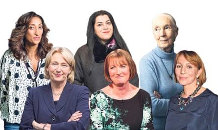 from left, Shazia Mirza, Jayne-Anne Gadhia, Marjane Satrapi, Harriet Harman, Jane Goodall and Sarah Sands.