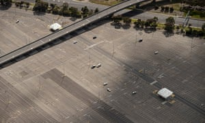 An aerial view of the long-term car park at Melbourne airport in late August