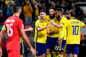 Isaac Kiese Thelin celebrates after breaking the deadlock in Solna.