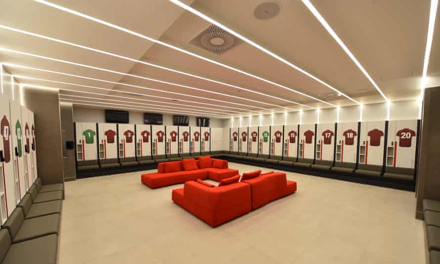 The first-team changing room at Liverpool's new training centre.