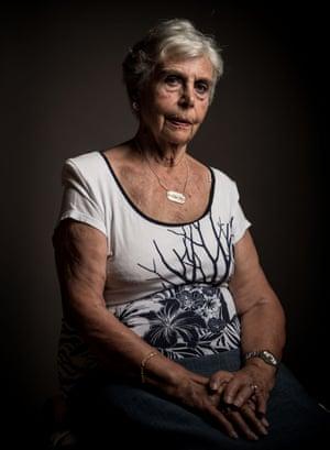 Assumpcio Ruera, 87 poses for a portrait on 11 July  in Terrassa, Spain