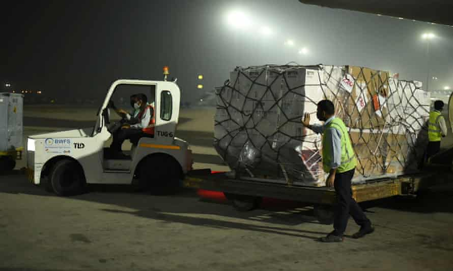 Medical aid arrives in Delhi, India, from the UK, on Tuesday.