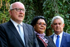 The attorney general, George Brandis, with the newly appointed Aboriginal and Torres Strait Islander social justice commissioner, June Oscar, and the minister for Indigenous health, Ken Wyatt