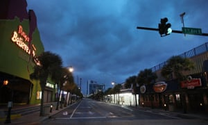Clouds are seen over a deserted Ocean Boulevard as the force of Hurricane Florence is felt on Friday in Myrtle Beach.