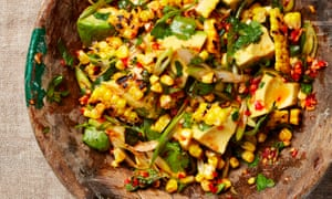 Sweetcorn and avocado with sweet chilli and lime sauce.