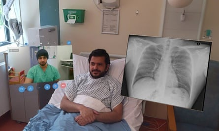 Dr Amir Sam piloting the use of mixed reality technology as a simulated patient with holograms of a chest radiograph and a faculty facilitator