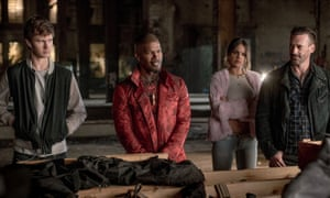 From left, Ansel Elgort, Jamie Foxx, Eiza González and Jon Hamm in Baby Driver.