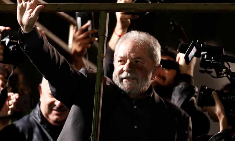 Luiz Ináçio Lula da Silva participates in a protest against interim president Michel Temer in São Paulo.