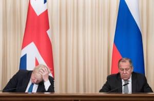 Moscow, Russia: Boris Johnson and Sergei Lavrov