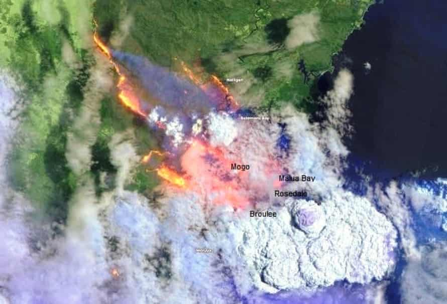 A satellite image of the fire