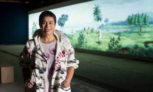 Lisa Reihana and her video at the Venice Biennale.