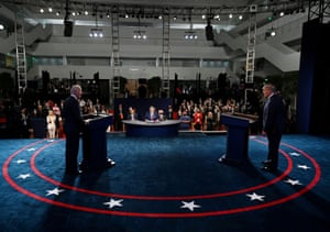 Donald Trump and Joe Biden participate in the first presidential debate at Case Western University and Cleveland Clinic, in Cleveland, Ohio.