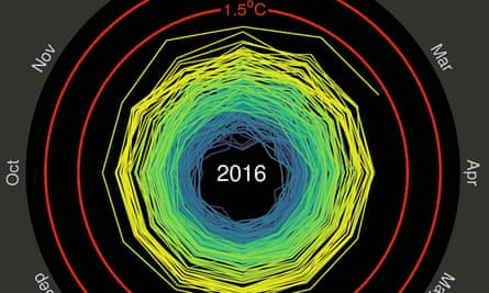 Monthly global temperatures in 2016