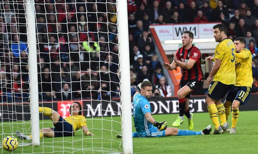 Dan Gosling (third right) scores the opening goal for Bournemouth.