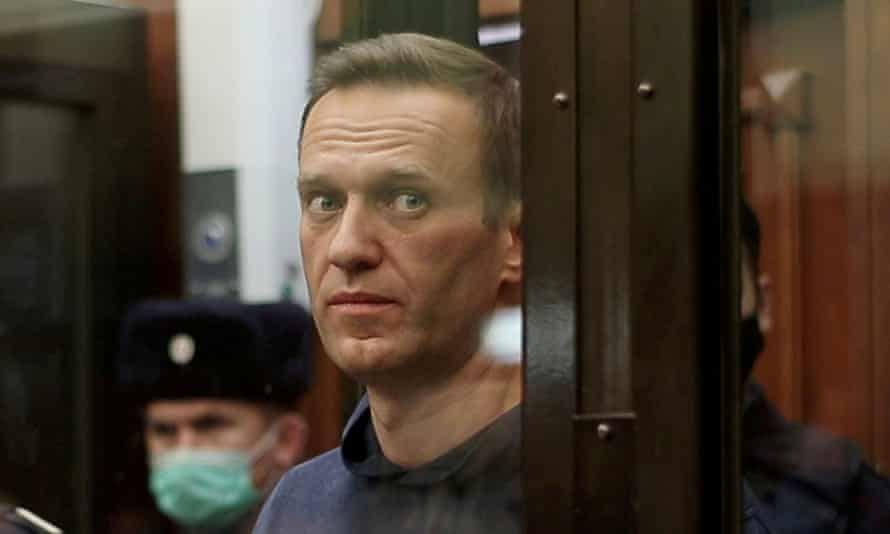Alexei Navalny pictured in a Moscow court in February.