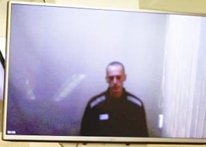 Alexei Navalny on TV screen