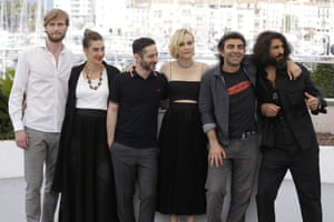 Fatih Akin, Diane Kruger, Numan Acar, Denis Moschitto, Samia Chancrin, Ulrich BrandhoffActor Numan Acar, from right, director Fatih Akin, left, actors Diane Kruger, Denis Moschitto, Samia Chancrin and Ulrich Brandhoff pose for photographers during the photo call for the film In The Fade at the 70th international film festival, Cannes, southern France, Friday, May 26, 2017. (AP Photo/Alastair Grant)