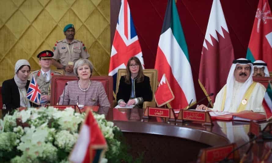 Theresa May and Fiona Hill visiting Bahrain
