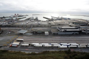 Lorries queue at the Port of Dover amid the coronavirus outbreak, in Dover, Britain, on 26 December, 2020.