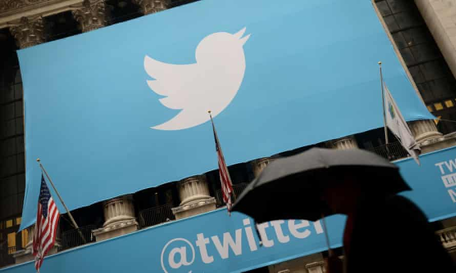 The logo of Twitter on the front of the New York Stock Exchange (NYSE) in New York.