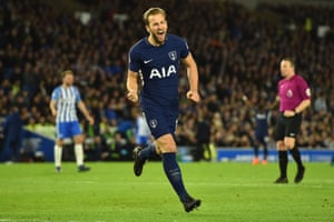 Tottenham Hotspur's Harry Kane celebrates scoring the opening goal.
