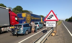 Traffic queueing on the A20 near Dover