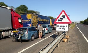 Traffic queuing on the road to Dover last year