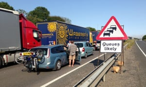 Traffic at a standstill on the A20 near Dover.