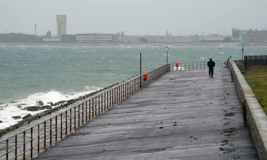 Wind and rain lash Southsea in Hampshire.
