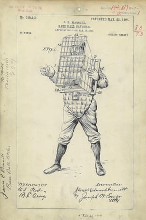 USA, 1904 A baseball-catching device invented by James E. Bennett. A wire cage strapped across the person's chest acts as a receptacle to catch balls