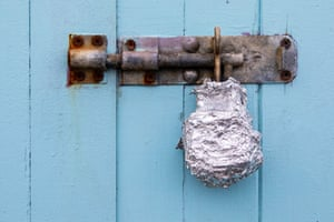 Padlock covered in tinfoil