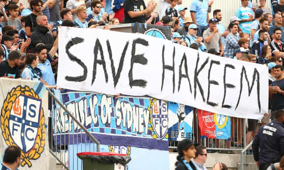Football fans in Australia display a sign in support of Hakeem al-Araibi, who fled Bahrain in 2012 after being tortured by the authorities there but is now detained in Thailand.