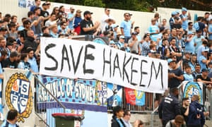 Sydney FC fans display a sign in support for Hakeem al-Araibi in Sydney on 19 January.