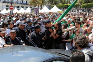 Algiers, Algeria Demonstrators and police confront each other during an anti-government protest