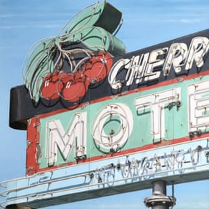 The neon sign paintings of  artist Terry Thompson in homage to Ed Ruscha and Edward Hopper.