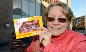 'My humph was up. The attack on Tunnock's was one step too far' … Rita Calder counter-protesting against the Scottish Resistance outside the Tunnock's factory.