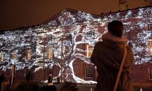 Tree of Memory by Spanish artist Xavi Bove, an illumination at Royal William Yard on the launch of Mayflower 400, 27 November 2019.