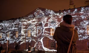 Tree of Memory by Spanish artist Xavi Bové illuminating a building at Royal William Yard in Plymouth last week.