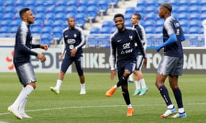 Thomas Lemar (centre) is in Russia with France and will join Atlético Madrid.