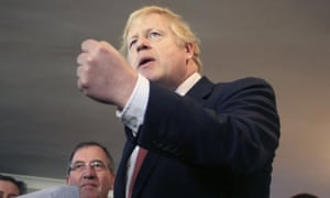 Boris Johnson in Sedgefield following his Conservative party's general election victory.
