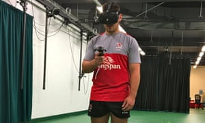Ulster's Tom O'Toole, an Ireland under-19s player, uses a rugby virtual reality headset.
