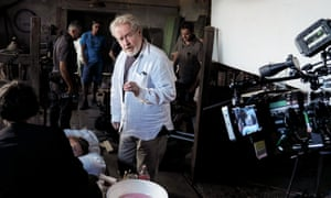 … Ridley Scott on the set of his most recent film, All the Money in the World.
