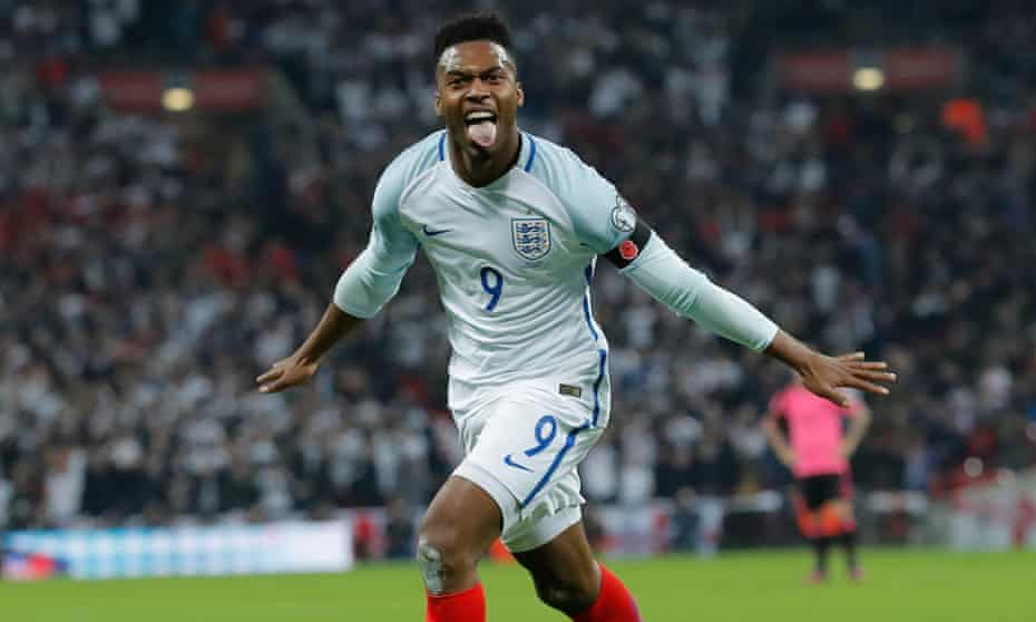 Daniel Sturridge celebrates after opening the scoring against Scotland at Wembley.