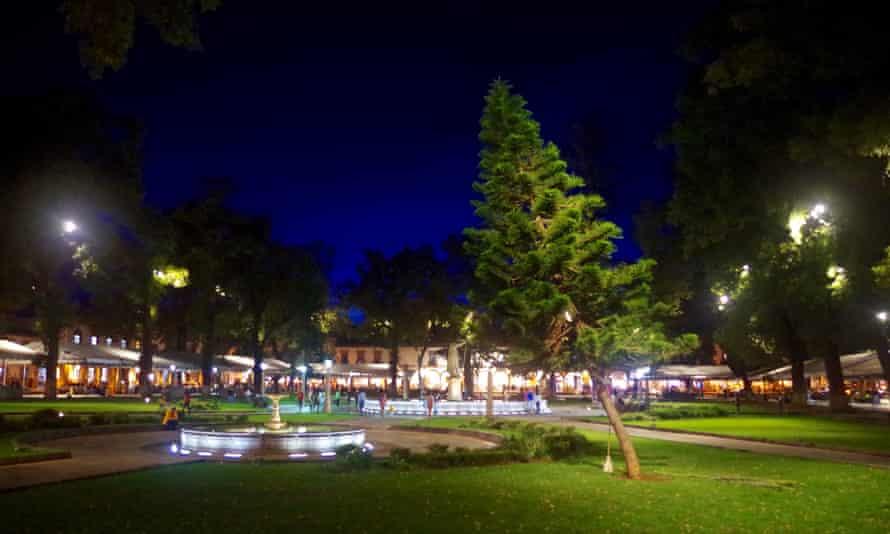 Plaza Grande at dusk, Patzcauro, Mexico