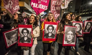 Feminists protest against the impeachment of the Brazilian president, Dilma Rousseff, in Sao Paulo on 26 April.