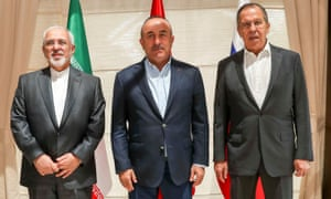Cevad Zarif, Mevlüt Çavuşoğlu and Sergey Lavrov, the respective foreign ministers of Iran, Turkey and Russia, met in Antalya, Turkey, on Sunday.